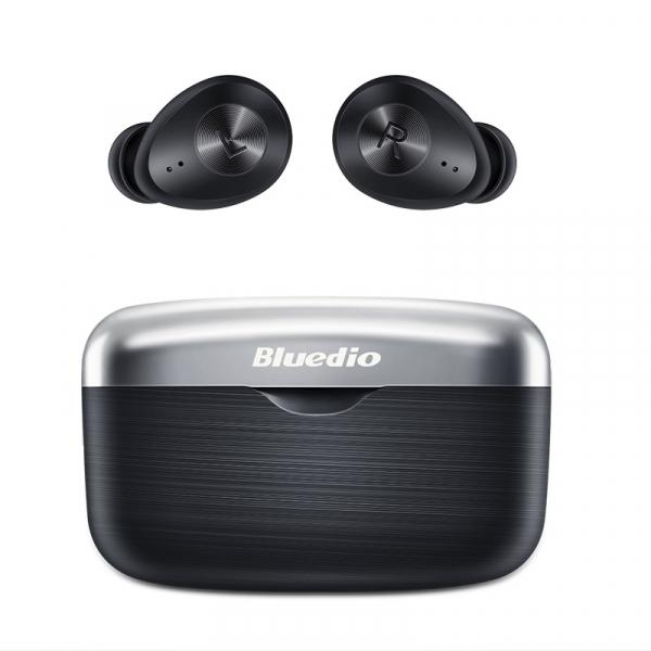 Casti wireless in-ear Bluedio Fi cu cutie de incarcare si transport, Bluetooth 5.0, Chip Qualcomm, Touch control, VFT, APTX, Negru imagine