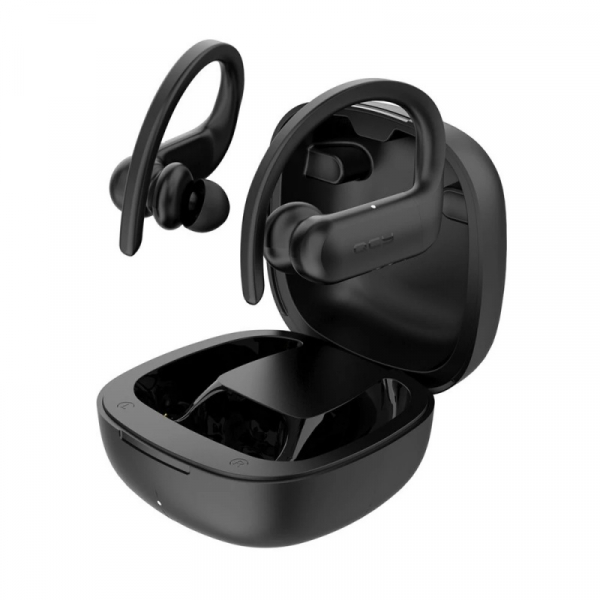 Casti bluetooth semi-in-ear QCY T6 cu cutie de incarcare si transport de 600mAh, 32 , Microfon, Bluetooth v5.0, IPX4, Negru imagine