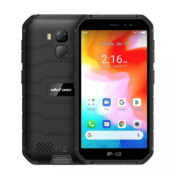 Telefon mobil Ulefone Armor X7, 4G, IPS 5inch, 2GB RAM, 16GB ROM, Android 10, Helio A20 QuadCore, NFC, 4000mAh, Dual SIM, Negru imagine