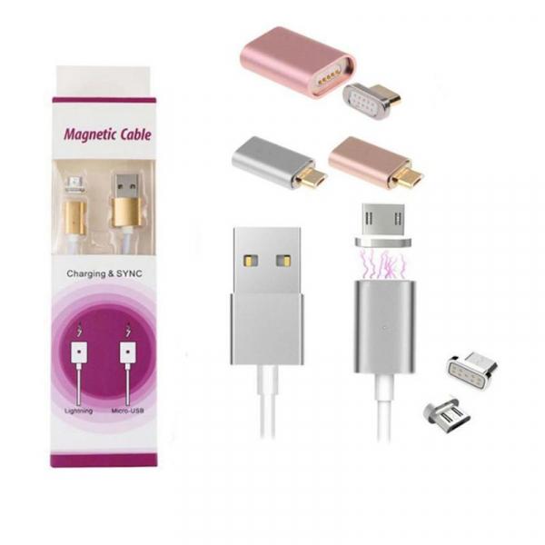 Cablu magnetic USB la alegere Tip C, Micro USB, Lightning (Iphone), pentru incarcare si transfer date imagine