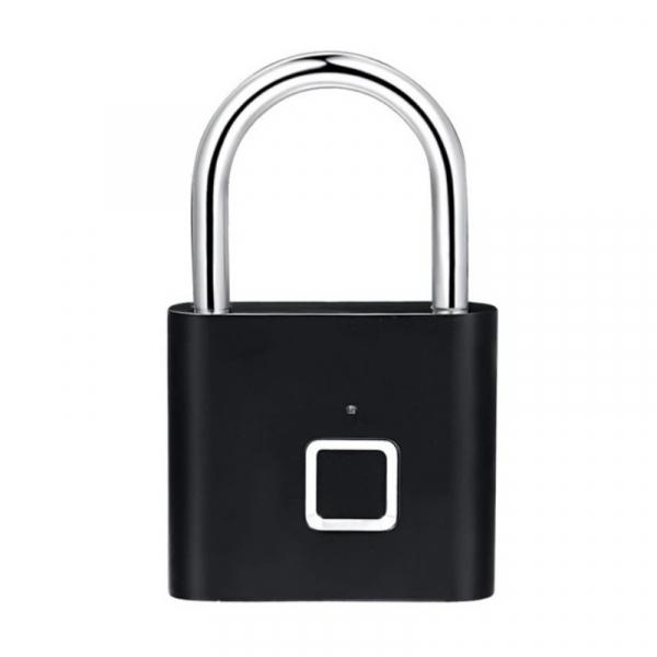 Lacat smart cu amprenta Star Fingerprint Lock fara cheie reincarcabil din aliaj de Zinc cu memorie 10 amprente si autonomie 12 luni Negru imagine