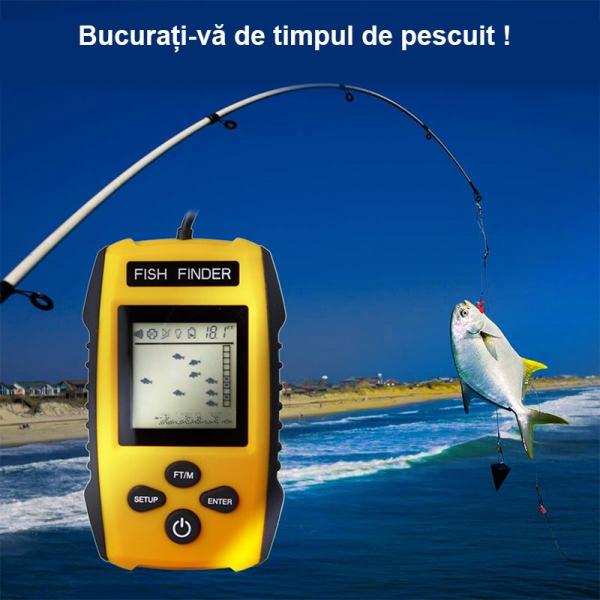 Fish Finder Portabil - sonar pentru pescuit , Senzor Adancime 100m, Pentru pescuitul la mare, lac, rau si balta imagine