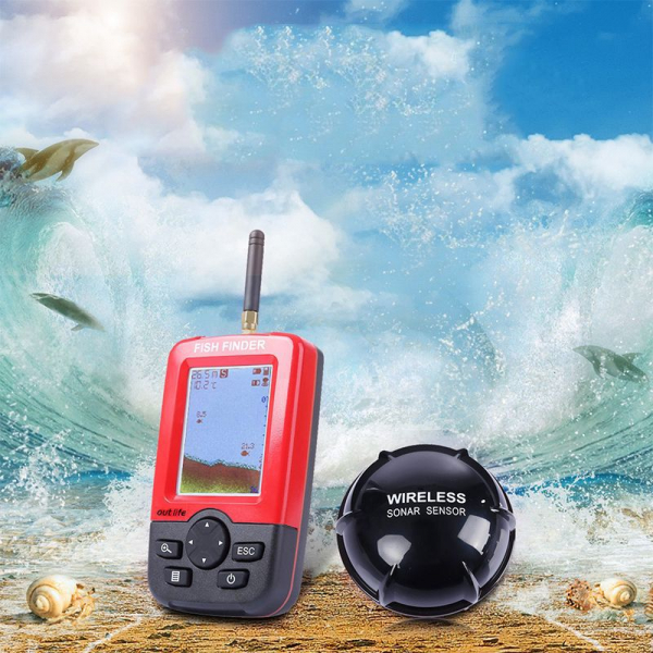 Fish Finder XJ-01, Detector portabil si inteligent de pesti, Ecran LCD, Senzor Sonar Wireless 100m, Sunet Ecou Sonar imagine