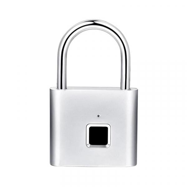 Lacat smart cu amprenta Star Fingerprint Lock fara cheie reincarcabil din aliaj de Zinc cu memorie 10 amprente si autonomie 12 luni Silver imagine