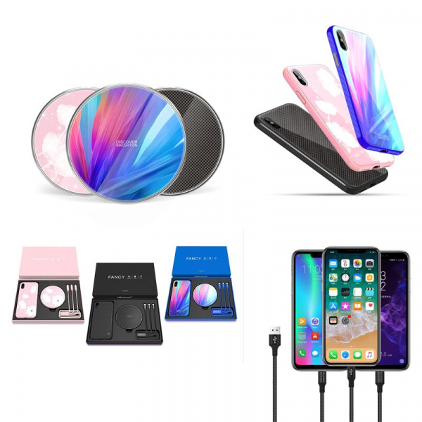 Set Cadou Extravagant - Nillkin Fancy Gift Set - Cablu de date 3 in 1, Incarcator wireless, Husa tempered glass pentru iPhone X imagine