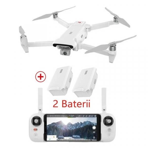 Set drona Xiaomi FIMI X8 SE 2020 cu 2 baterii, Camera 4K, 12MP Sony CMOS, Gimbal pe 3 axe, GPS, 35 min timp zbor, 2x 4500mAh, Alb imagine