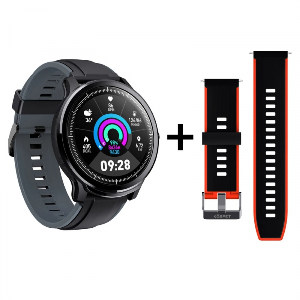Smartwatch Kospet Probe, LCD 1.3 , Nordic NRF 52832, Bluetooth v4.2, IP68, Suporta inot, 250mAh, Fibra de carbon, Negru Rosu imagine