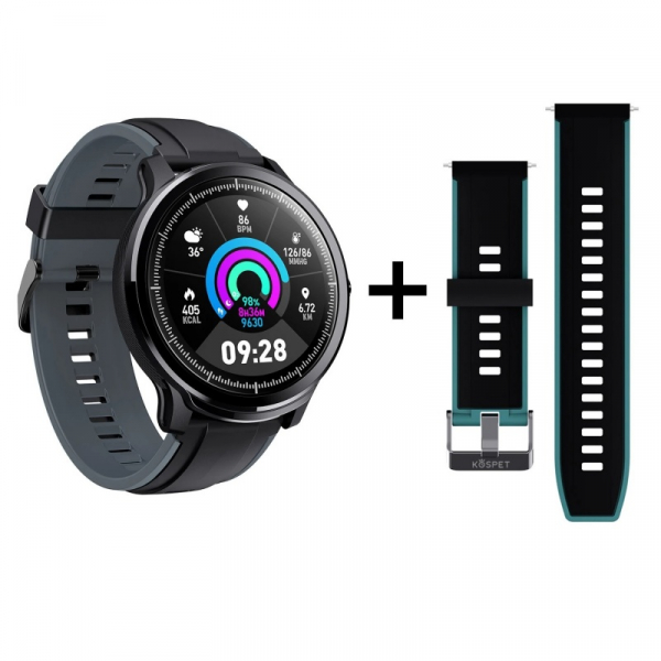Smartwatch Kospet Probe, LCD 1.3 , Nordic NRF 52832, Bluetooth v4.2, IP68, Suporta inot, 250mAh, Fibra de carbon, Negru Verde imagine