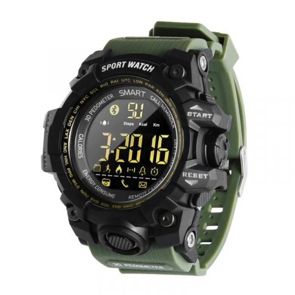 Smartwatch STAR EX16S, LCD FSTN iluminat, Waterproof IP67, Bluetooth v4.0, Baterie CR2032, Verde militar imagine