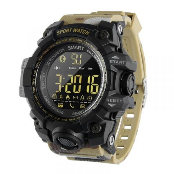 Smartwatch STAR EX16S, LCD FSTN iluminat, Waterproof IP67, Bluetooth v4.0, Baterie CR2032, Kaki camuflaj imagine