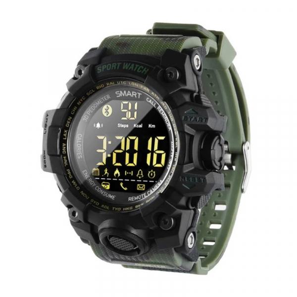 Smartwatch STAR EX16S, LCD FSTN iluminat, Waterproof IP67, Bluetooth v4.0, Baterie CR2032, Verde camuflaj imagine