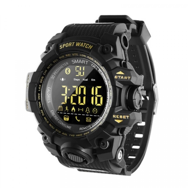 Smartwatch STAR EX16S, LCD FSTN iluminat, Waterproof IP67, Bluetooth v4.0, Baterie CR2032, Negru imagine