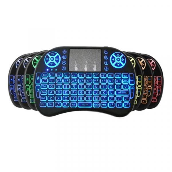 Telecomanda wireless QWERTY cu mini tastatura STAR i8, 2.4G, Iluminare LED 7 culori, Air mouse, Touch pad, Negru imagine