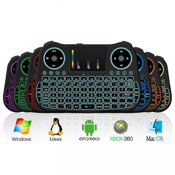 Telecomanda cu mini tastatura Rainbow backlit MT08, Air Mouse, Touch Pad, Wireless, Iluminare led, QWERTY imagine