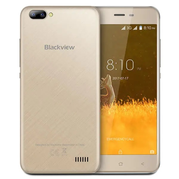 Telefon mobil Blackview A7, 3G, IPS 5.0inch, 1GB RAM, 8GB ROM, MediaTek MT6580 QuadCore, ARM Mali-400, Android 7.0, 2800mAh, Gold imagine