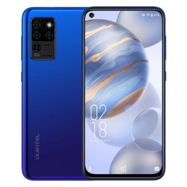 Telefon mobil Oukitel C21, 4G, IPS 6.4 Hole-Punch, 4GB RAM, 64GB ROM, Android 10, Helio P60 OctaCore, 4000mAh, Dual SIM, Albastru imagine