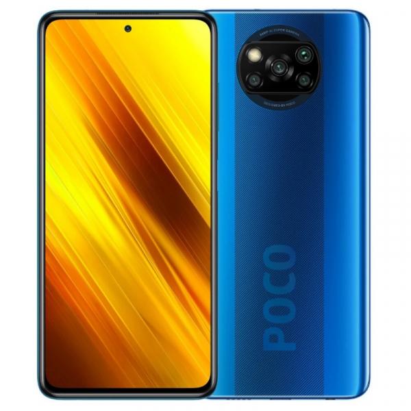 Telefon mobil Xiaomi POCO X3 NFC, 4G, IPS 6.67 , 6GB RAM, 64GB ROM, MIUI v12 POCO, Snapdragon 732G, NFC, 5160mAh, Dual SIM, EU, Albastru imagine