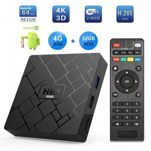 TV BOX HK1 Max 4K, Android 8.1, 4GB RAM 32GB ROM, Kodi 18, RK3228 Quad Core, Wifi, Lan, Slot Card imagine