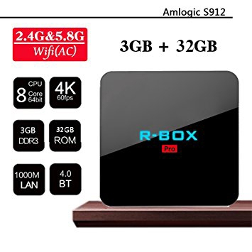 Tv Box R-BOX Pro 4K Amlogic S912, KODI, DDR4 3GB RAM, 32GB ROM, Android 7.1 imagine