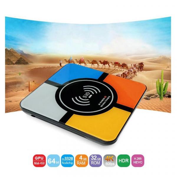 TV BOX S10 Plus 4K, Android 8.1, Incarcare wireless, 4GB RAM 32GB ROM, RK3328 Quad-Core, Kodi, Wifi, Redare 3D, LAN imagine